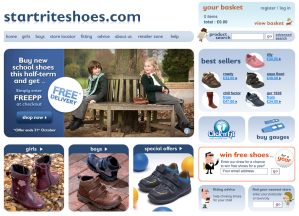 Start-Rite shoes homepage screen grab