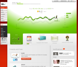 A view of the Nike+ profile homepage for smorgasbord