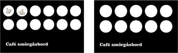 Two coffee loyalty cards showing one with two circles of 12 complete, the other with all ten blank